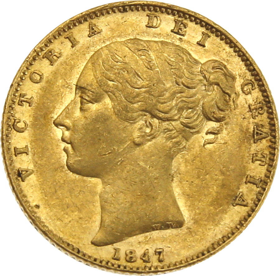 Pre-Owned 1847 London Mint Victorian 'Shield' Full Sovereign Gold Coin