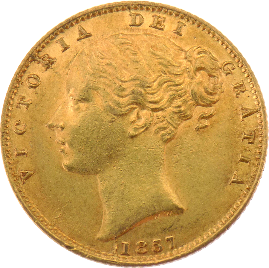 Pre-Owned 1857 London Mint Victoria Young Head Shield Full Sovereign Gold Coin