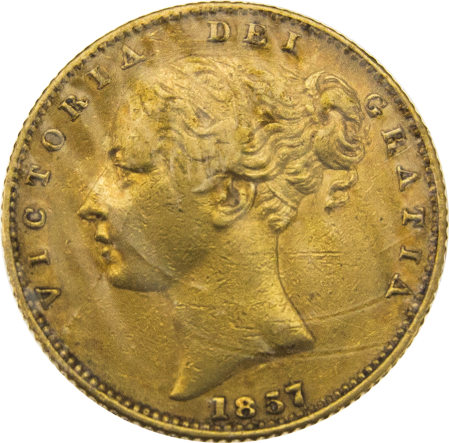 Pre-Owned 1857 London Mint Victorian Young Head 'Shield' Full Sovereign Gold Coin