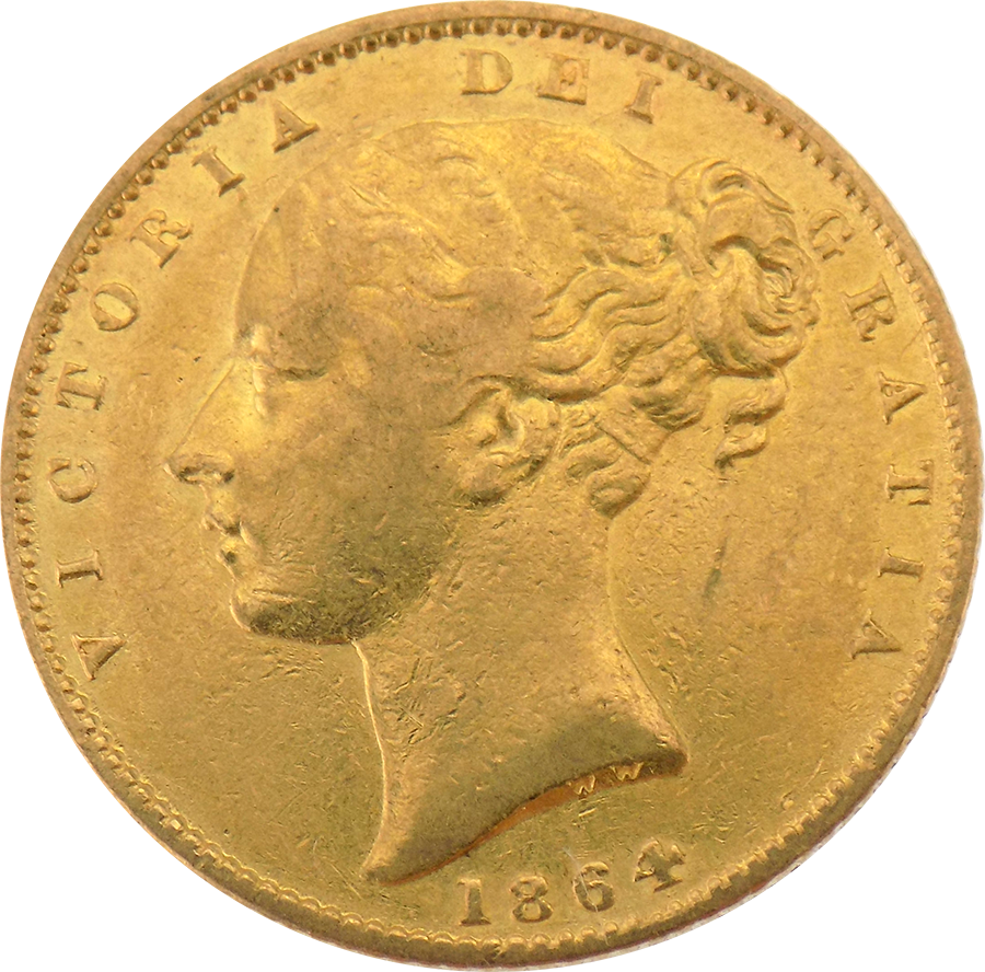Pre-Owned 1864 London Mint DN.78 Victorian 'Shield' Full Sovereign Gold Coin (Image 1)