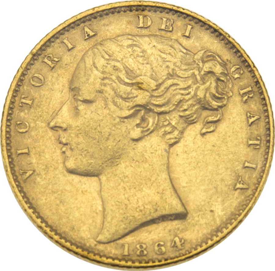 Pre-Owned 1864 London Mint DN.33 Victorian 'Shield' Full Sovereign Gold Coin (Image 1)