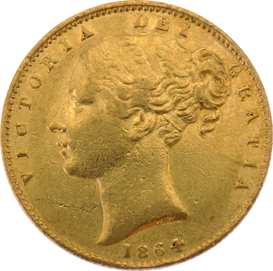 Pre-Owned 1864 London Mint DN.102 Victorian 'Shield' Full Sovereign Gold Coin