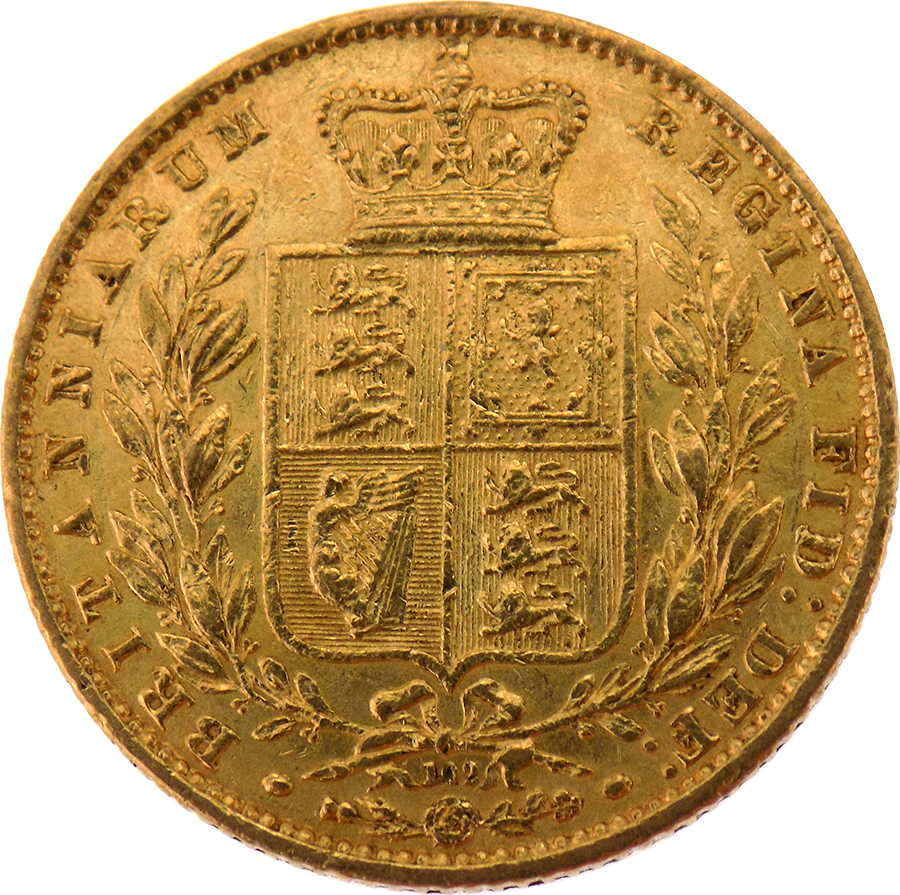 Pre-Owned 1864 London Mint DN.102 Victorian 'Shield' Full Sovereign Gold Coin (Image 2)