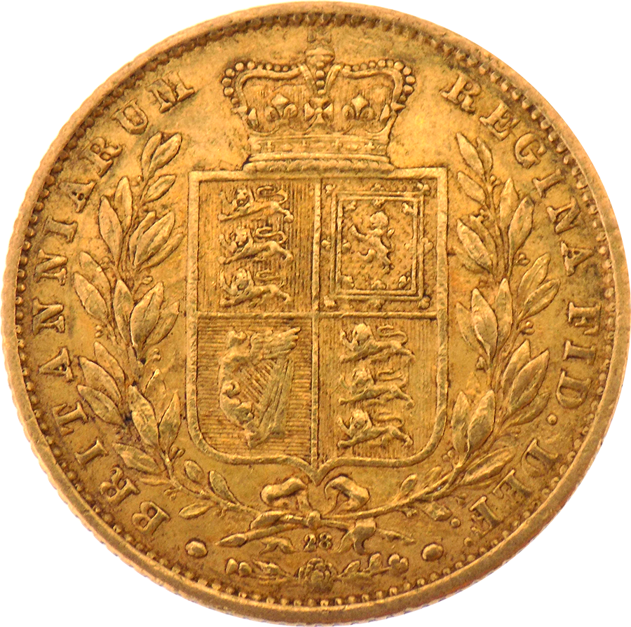 Pre-Owned 1865 London Mint DN.28 Victorian 'Shield' Full Sovereign Gold Coin (Image 2)