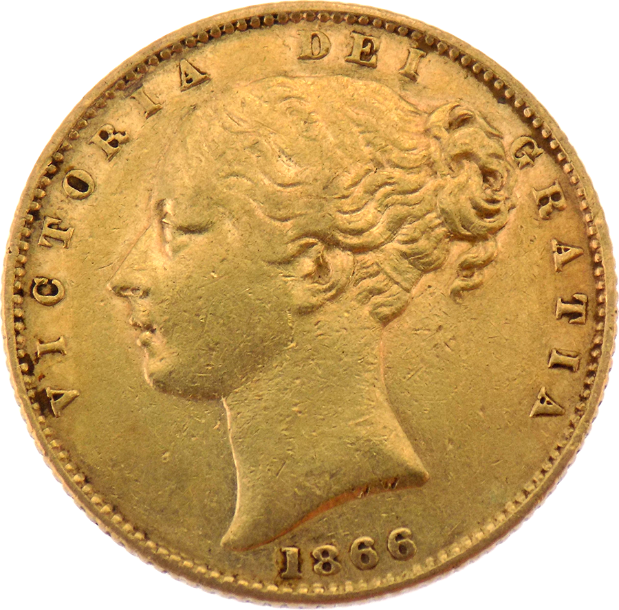 Pre-Owned 1866 London Mint DN.26 Victorian 'Shield' Full Sovereign Gold Coin (Image 1)