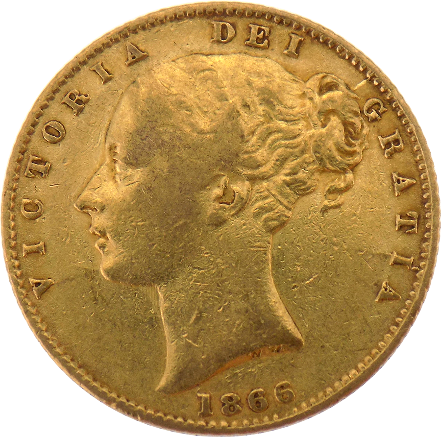 Pre-Owned 1866 London Mint DN.54 Victorian 'Shield' Full Sovereign Gold Coin