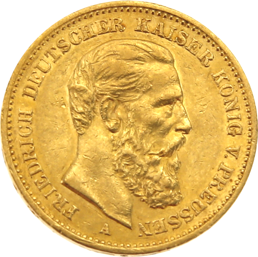 Pre-Owned 1888 German Frederick III 20 Mark Gold Coin