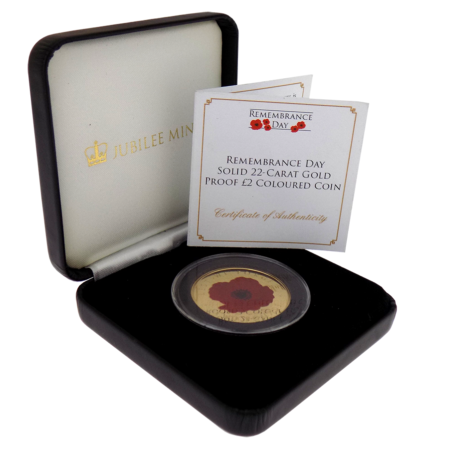 Pre-Owned 2017 Tristan Da Cunha Remembrance Day £2 Gold Proof Coin