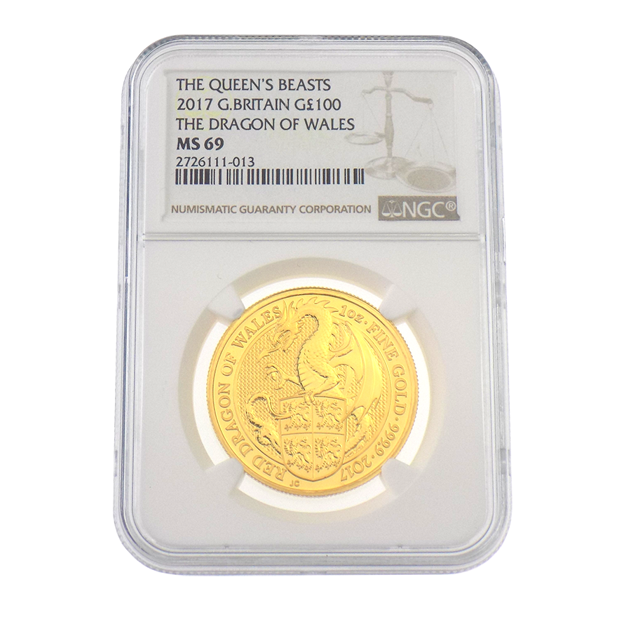 Pre-Owned 2017 UK Queen's Beast The Dragon 1oz Gold Coin NGC Graded MS 69 - 2726111-013