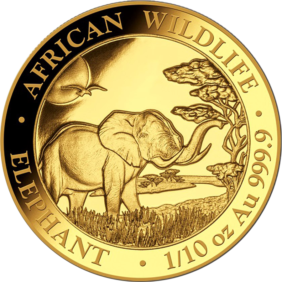 2019 Somalian Elephant 1/10oz Gold Coin