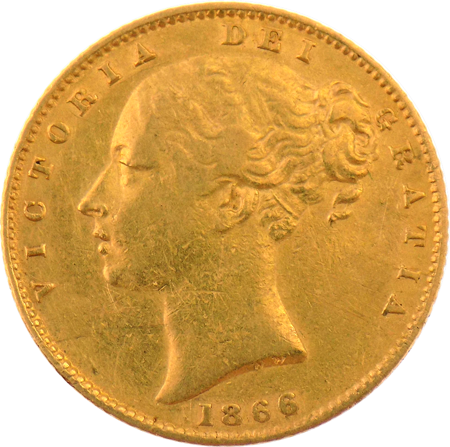 Pre-Owned 1866 DN.51 Victorian 'Shield' Full Sovereign Gold Coin (Image 1)