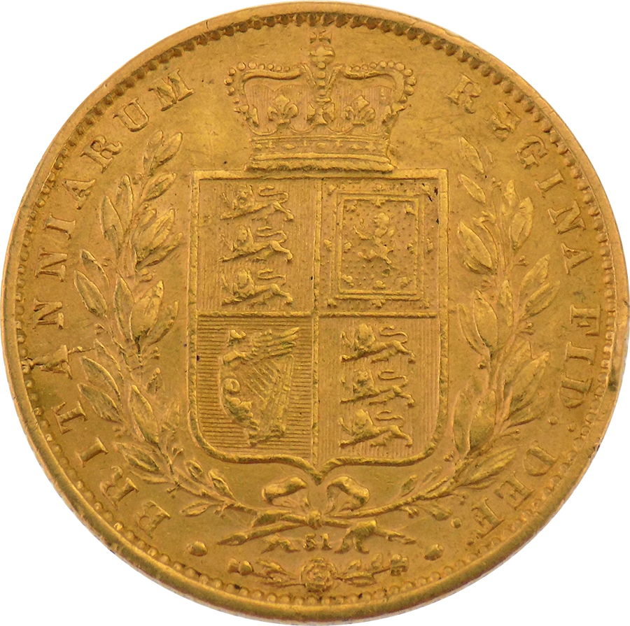 Pre-Owned 1866 DN.51 Victorian 'Shield' Full Sovereign Gold Coin (Image 2)