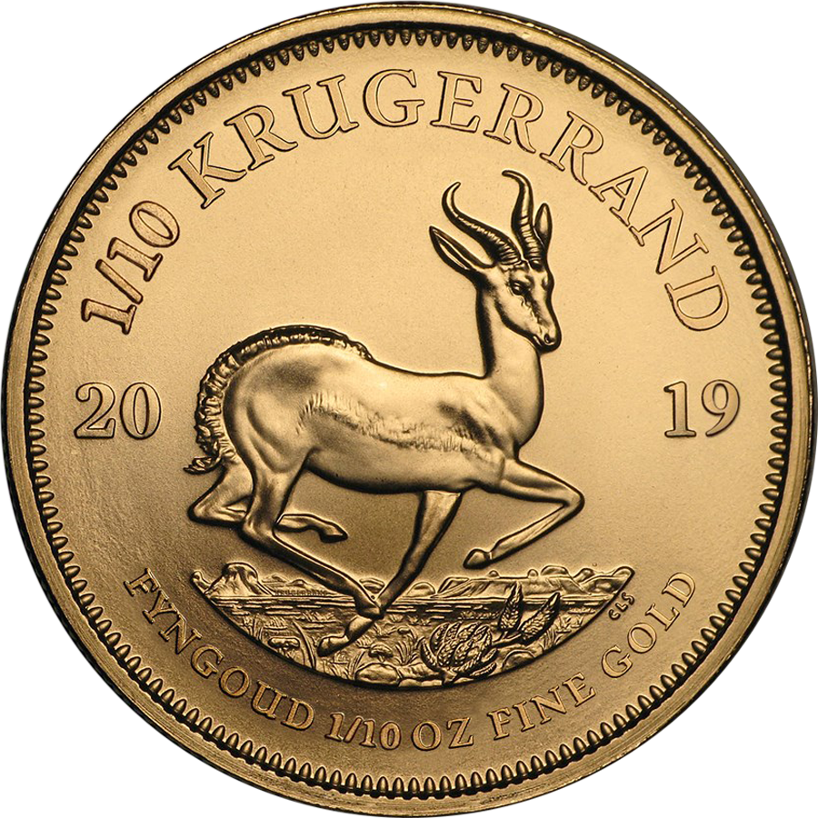 2019 South African Krugerrand 1/10oz Gold Coin (Image 1)