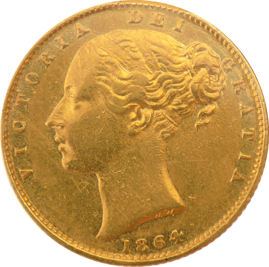 Pre-Owned 1864 London Mint DN.61 Victorian 'Shield' Full Sovereign Gold Coin