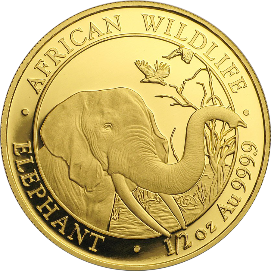 Pre-Owned Somalian Elephant 1/2oz Gold Coin - Mixed Dates