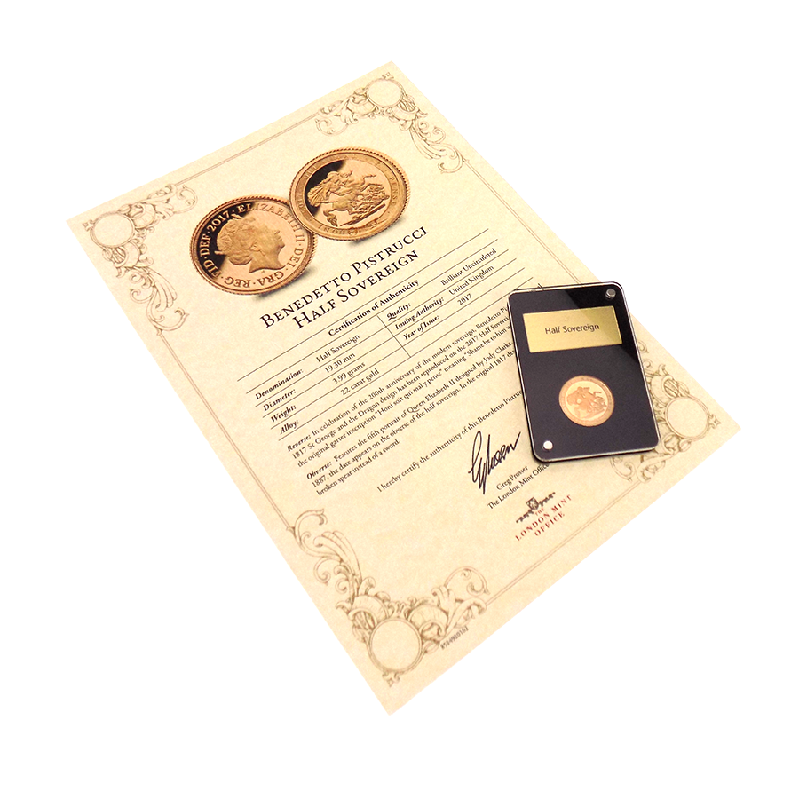 Pre-Owned 2017 UK 200th Anniversary Brilliant Uncirculated Design Half Sovereign Gold Coin