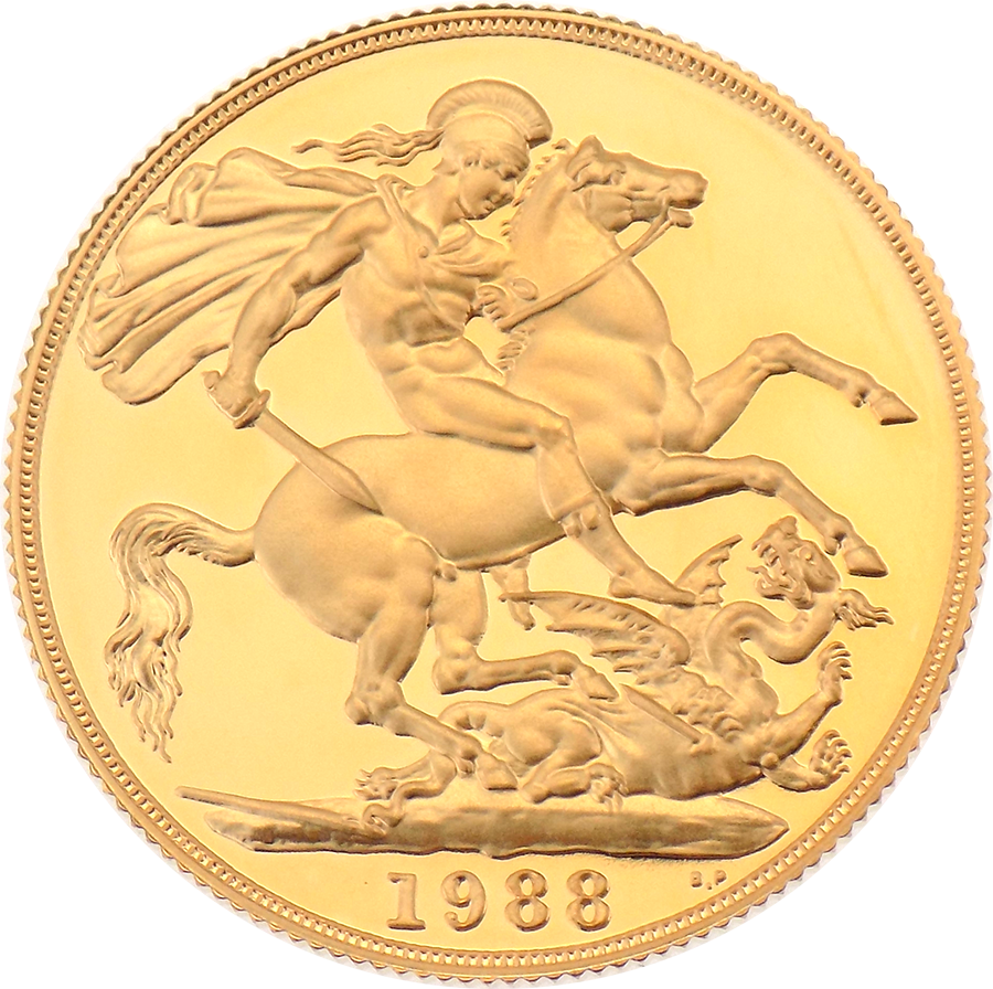 Pre-Owned 1988 UK Double Sovereign Proof Design Gold Coin