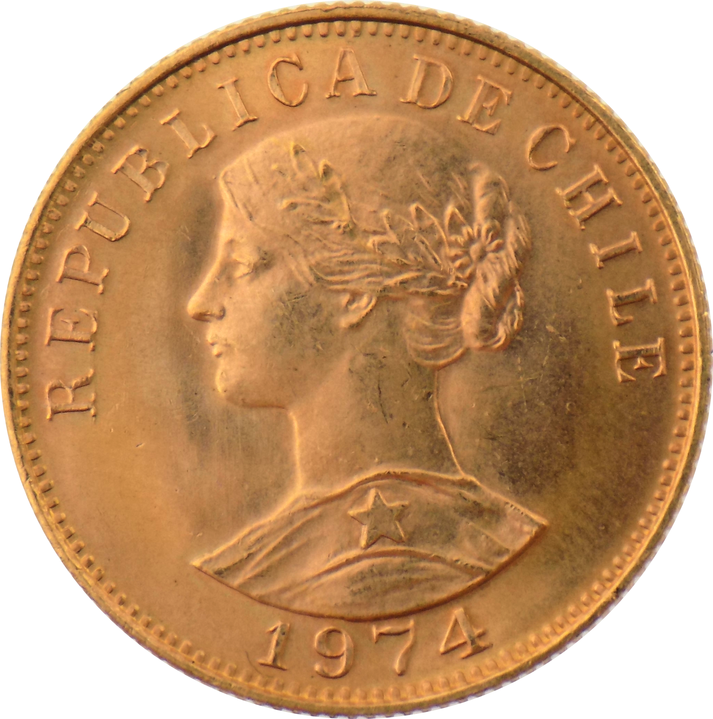 Pre-Owned 1974 Chile 50 Peso Gold Coin
