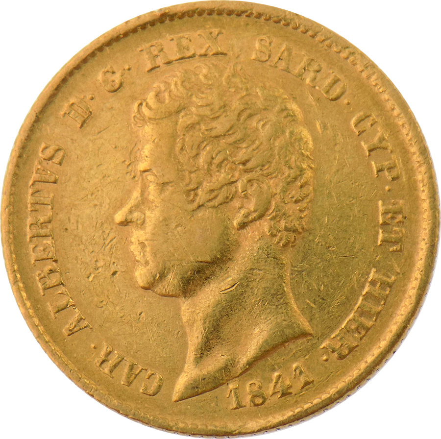 Pre-Owned 1841 Kingdom of Sardinia 20 Lira Gold Coin