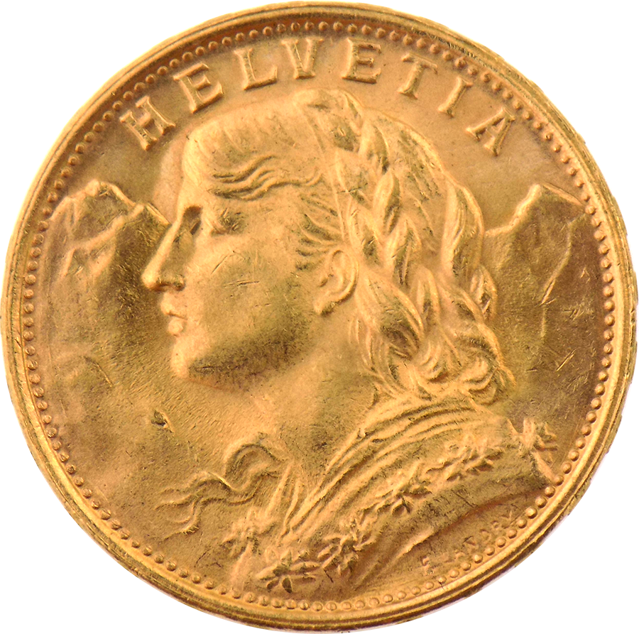 Pre-Owned 1949 Swiss 20 Franc Gold Coin