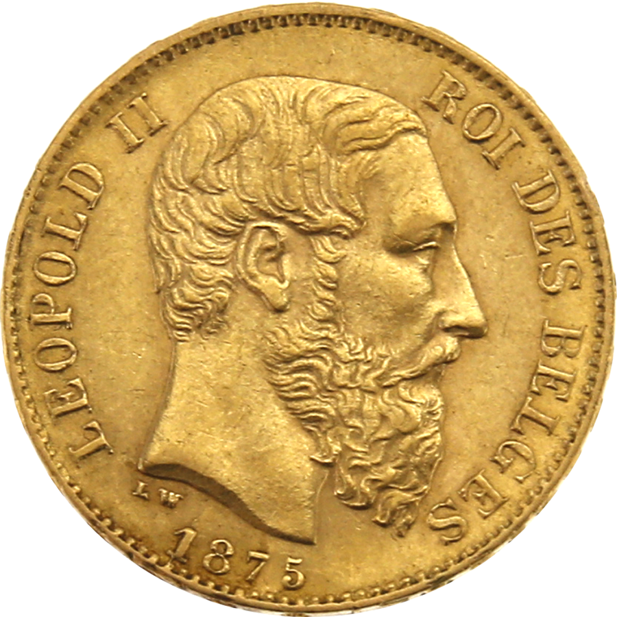 Pre-Owned 1875 Belgium 20 Franc Gold Coin