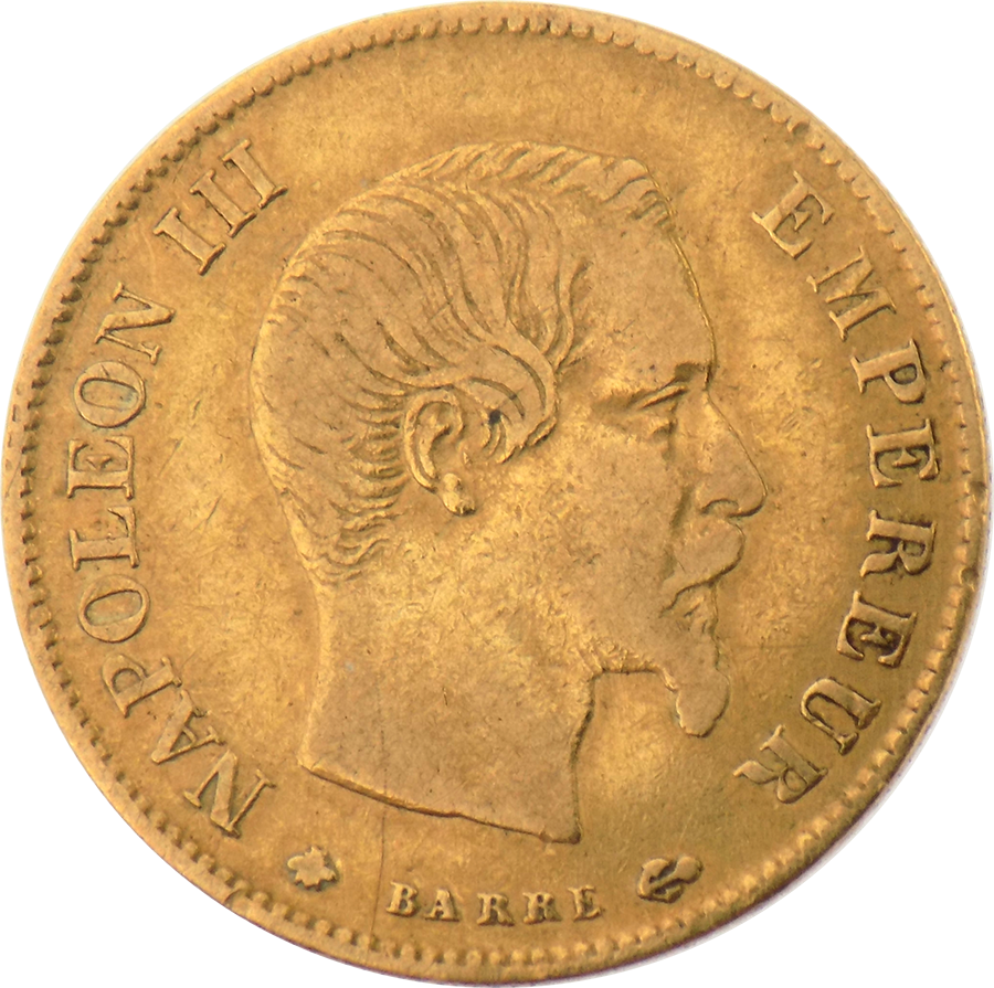Pre-Owned 1859 French Napoleon Wreath 10 Franc Gold Coin