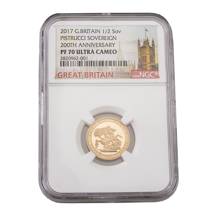 Pre-Owned 2017 UK 200th Anniversary Proof Half Sovereign Gold Coin - NGC Graded PF 70 Ultra Cameo -