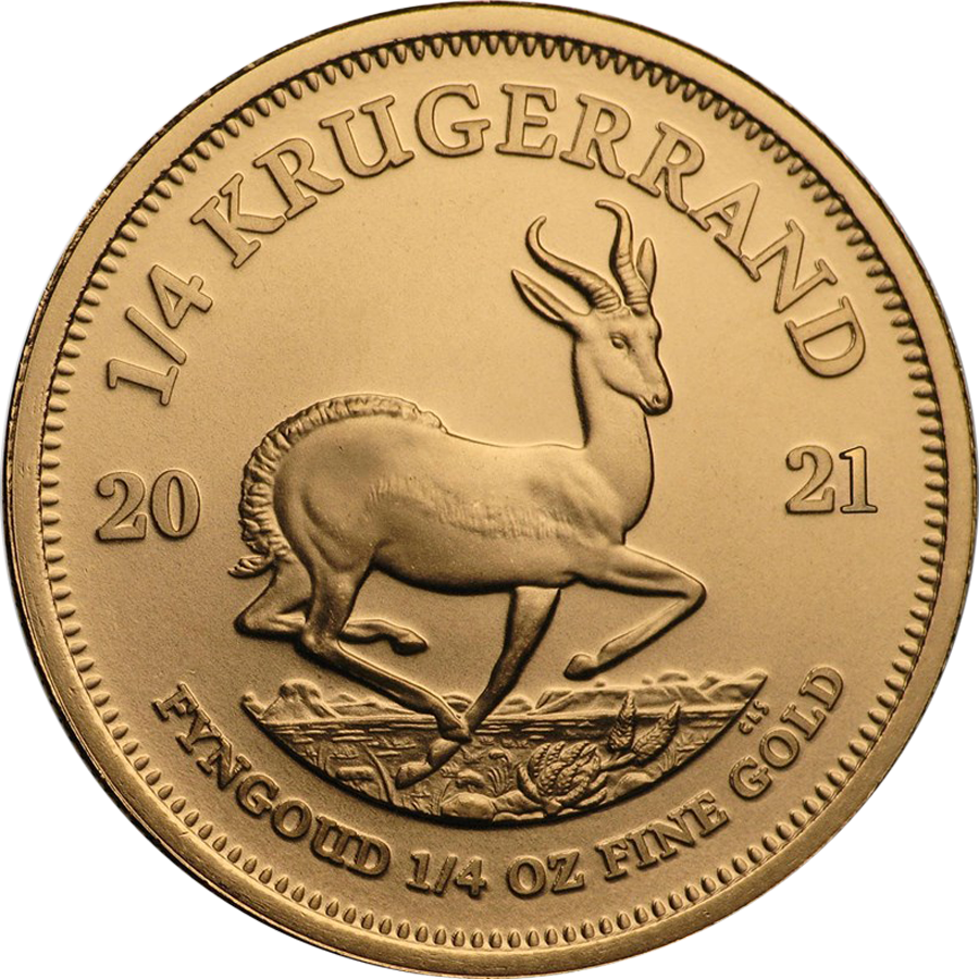 2021 South African Krugerrand 1/4oz Gold Coin (Image 1)