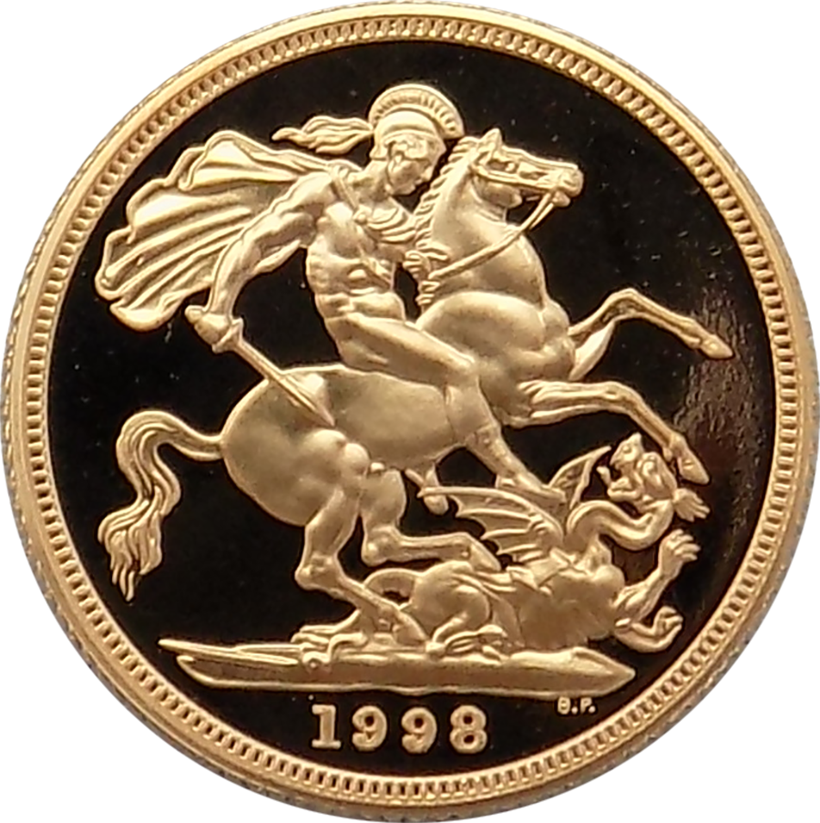Pre-Owned 1998 UK Full Sovereign Proof Design Gold Coin