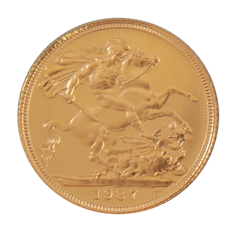 Pre-Owned 1987 UK Full Sovereign Proof Design Gold Coin (Image 2)