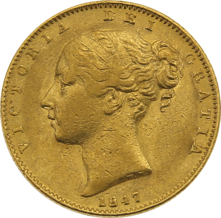 """Pre-Owned 1847 London Mint Victorian """"Shield"""" Full Sovereign Gold Coin"""