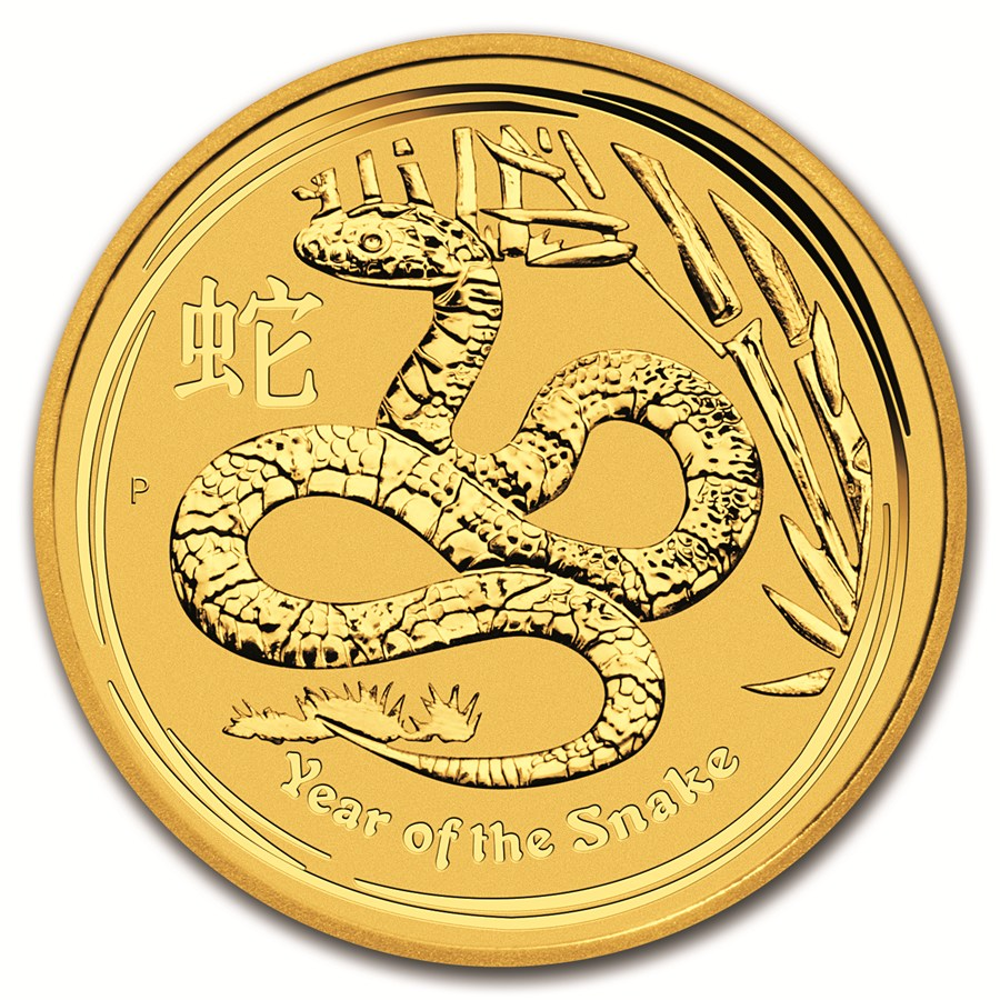 Pre-Owned 2013 Australian Lunar Snake 1oz Gold Coin