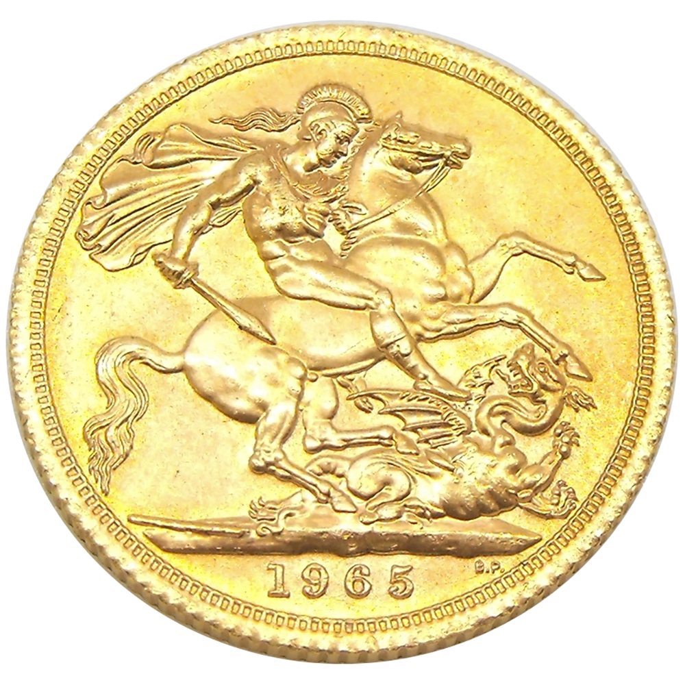 Pre-Owned 1965 UK Full Sovereign Gold Coin (Image 2)
