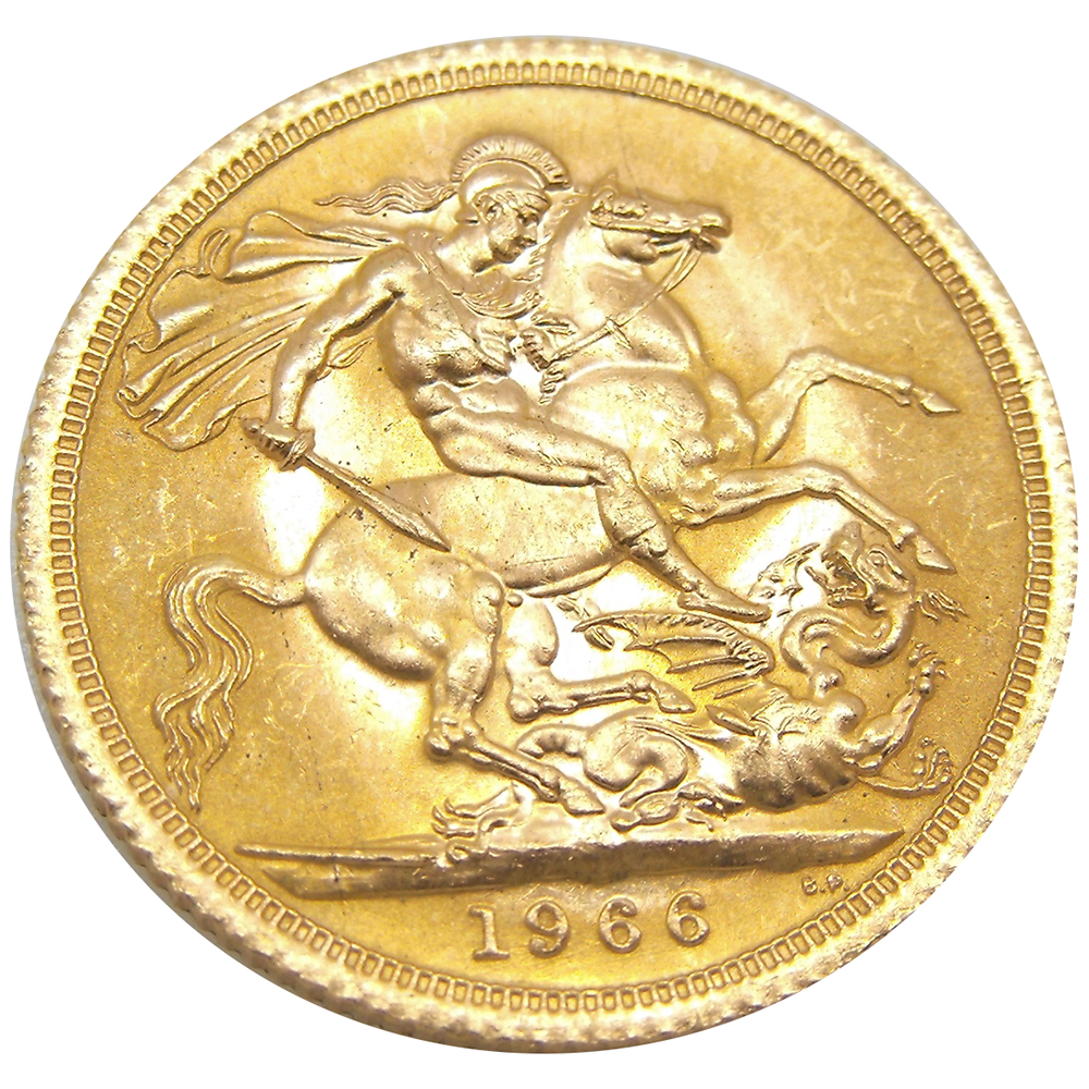Pre-Owned 1966 UK Full Sovereign Gold Coin (Image 2)
