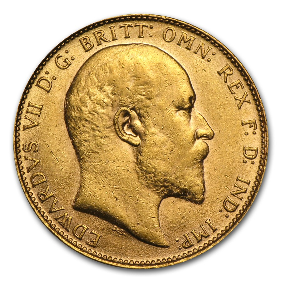 Pre Owned 1909 Uk Edward Vii Full Sovereign Gold Coin