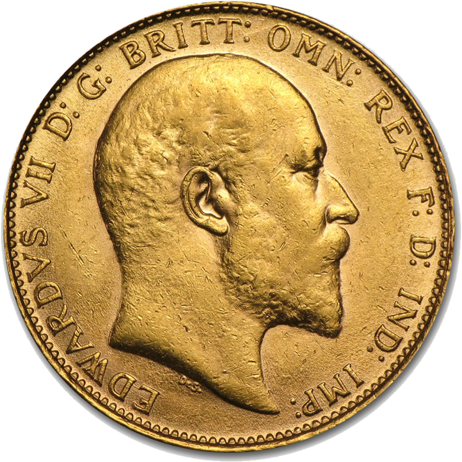 Pre-Owned 1908 London Mint Edward VII Full Sovereign Gold Coin