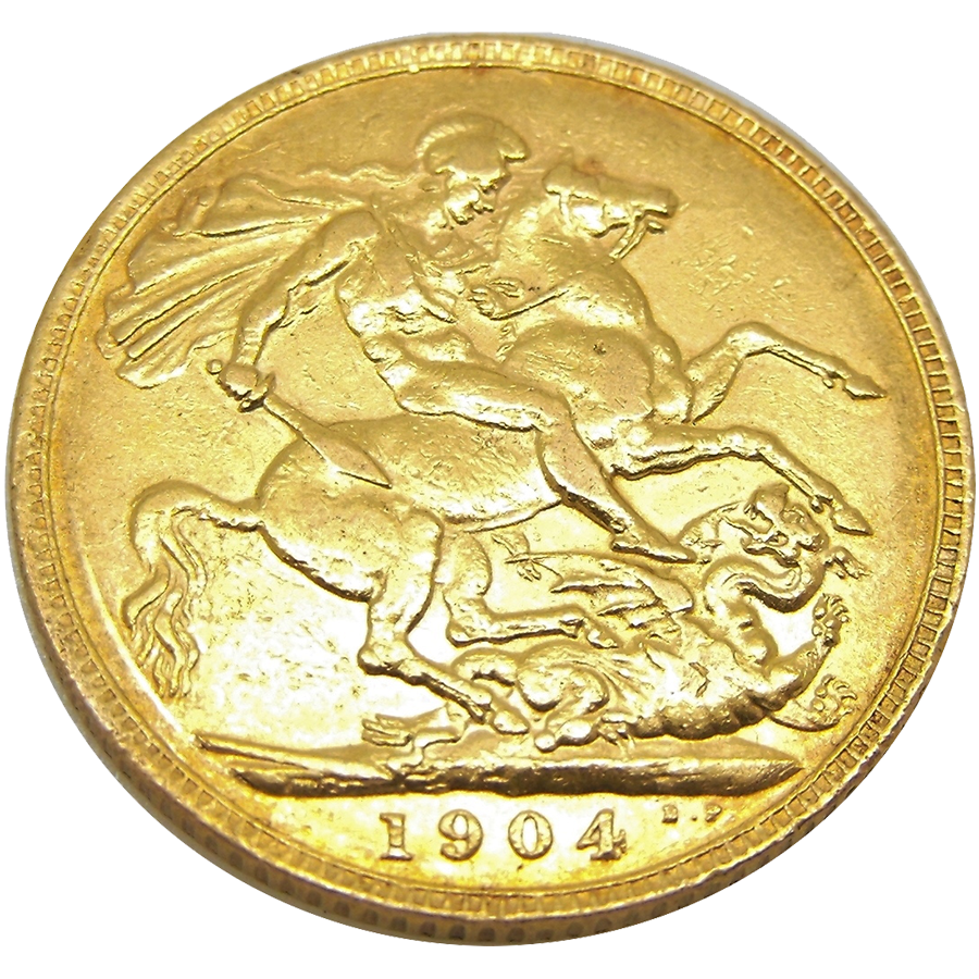 Pre-Owned 1904 London Mint Edward VII Full Sovereign Gold Coin (Image 2)