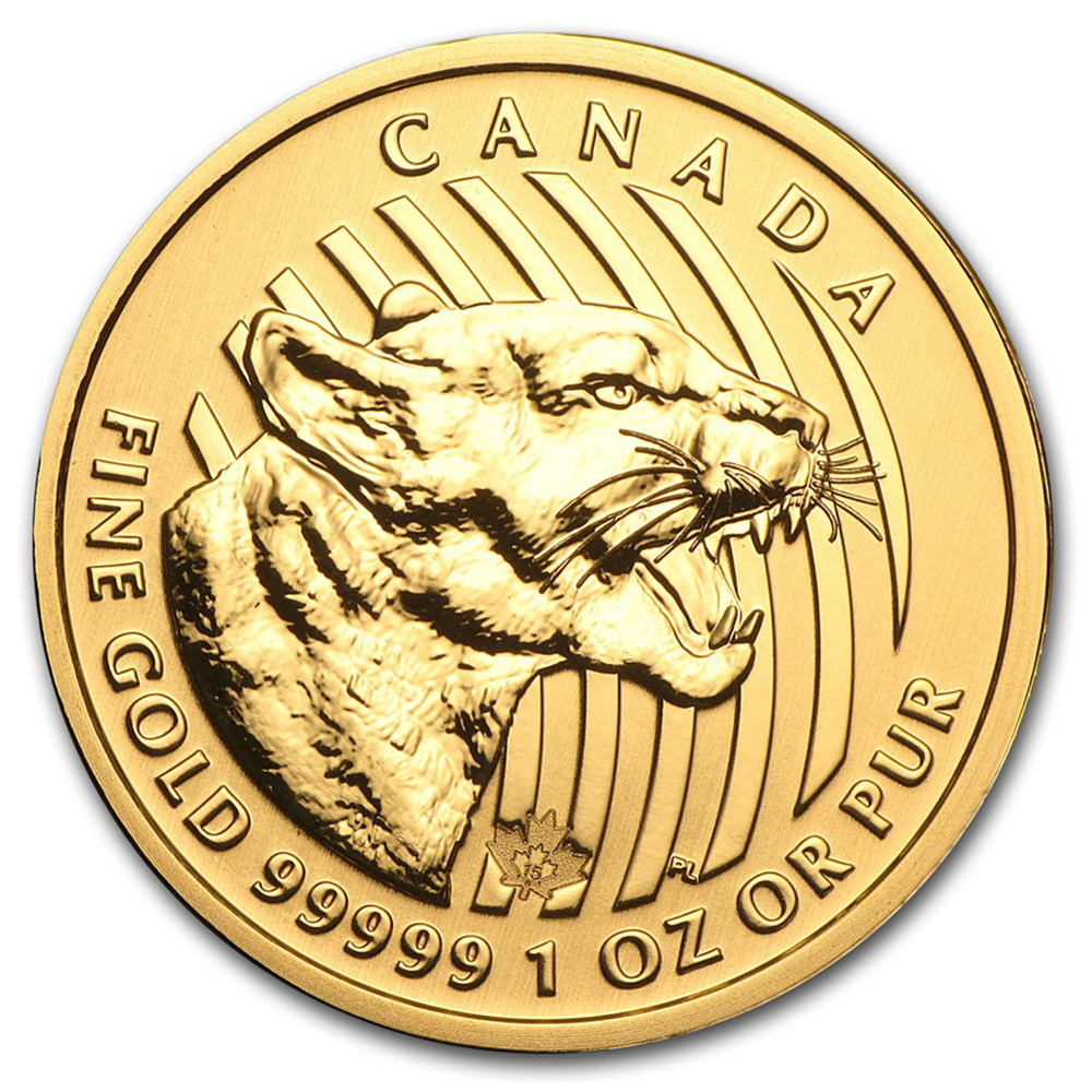 Pre-Owned 2015 Canadian Growling Cougar 1oz Gold Coin