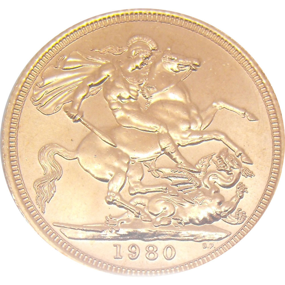 Pre-Owned 1980 UK Elizabeth II Full Sovereign Gold Coin (Image 2)