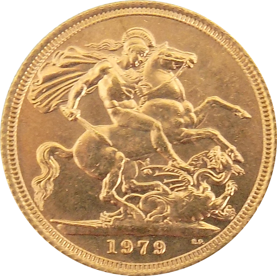 Pre-Owned 1979 UK Elizabeth II Full Sovereign Gold Coin (Image 2)