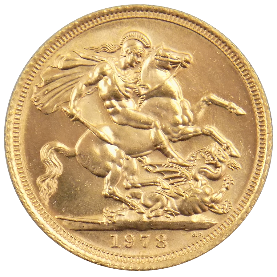 Pre-Owned 1978 UK Elizabeth II Full Sovereign Gold Coin (Image 2)