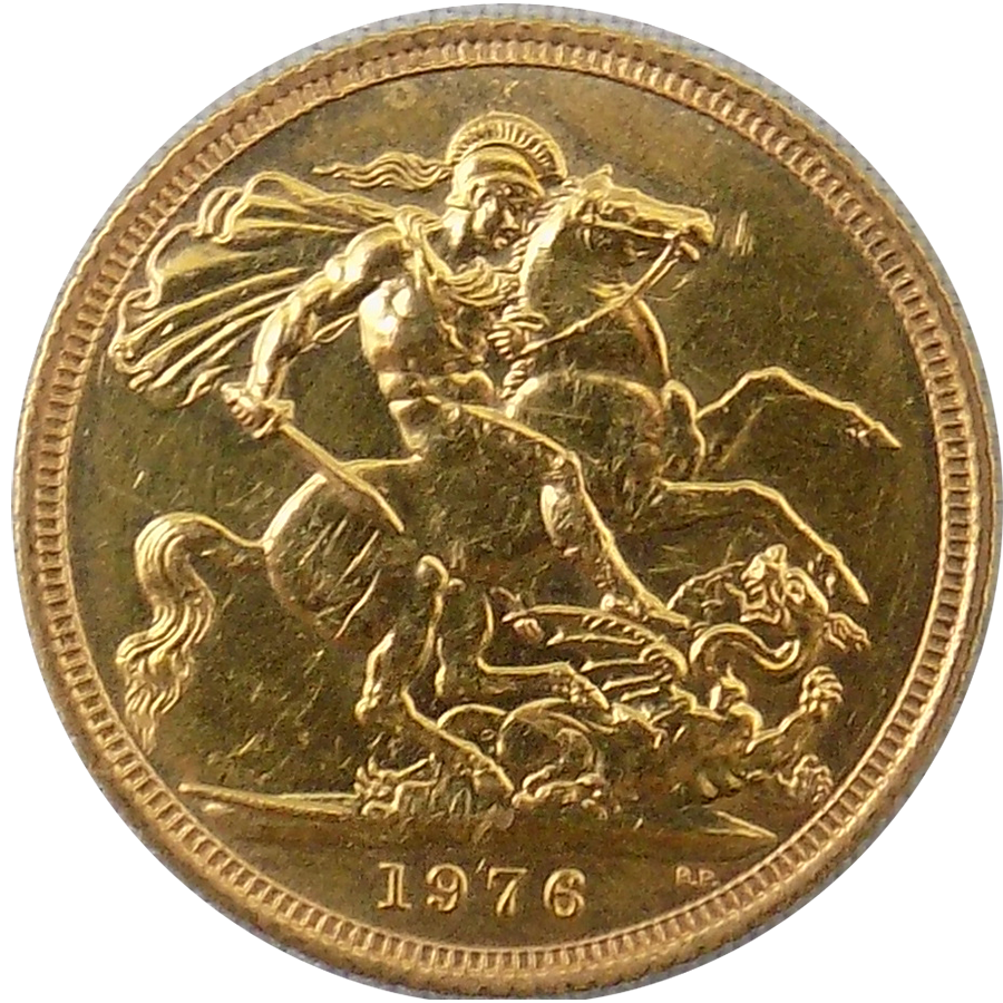 Pre-Owned 1976 UK Elizabeth II Full Sovereign Gold Coin (Image 2)