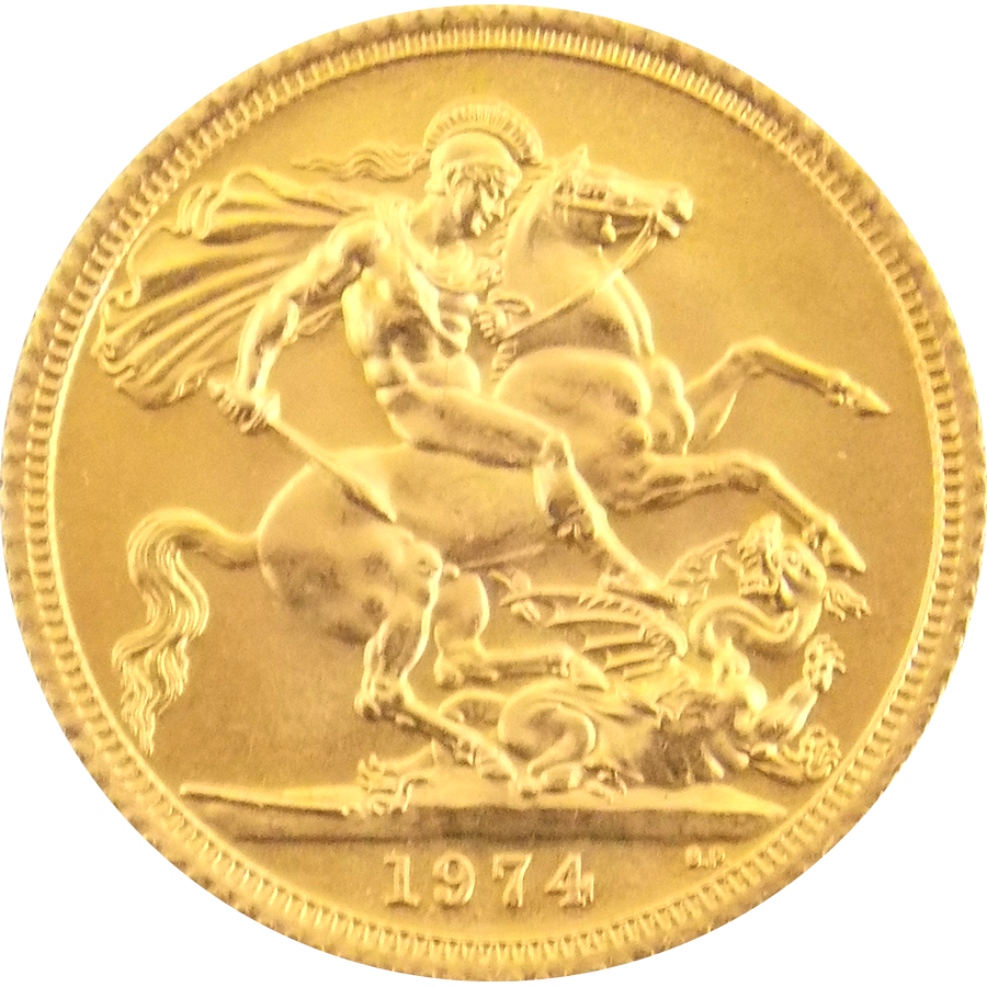 Pre-Owned 1974 UK Elizabeth II Full Sovereign Gold Coin (Image 2)