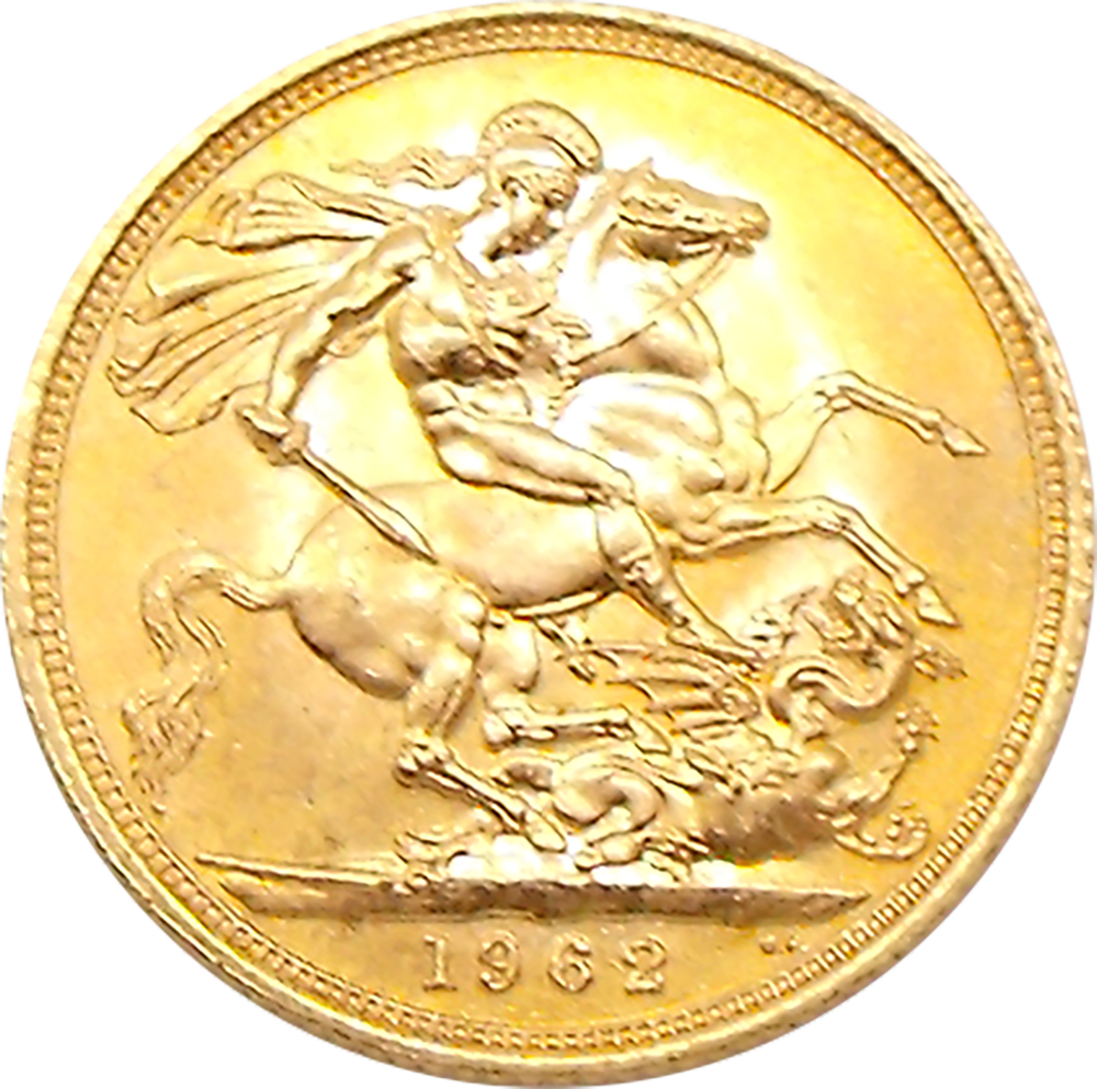Pre-Owned 1962 UK Elizabeth II Full Sovereign Gold Coin (Image 2)