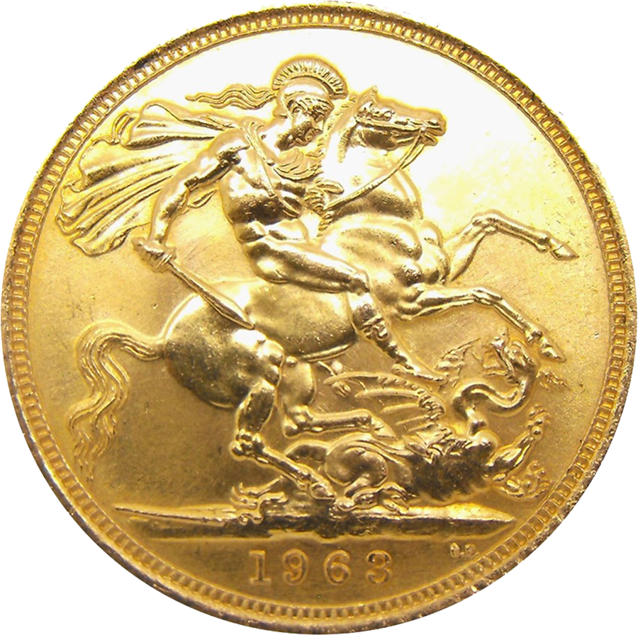 Pre-Owned 1963 UK Full Sovereign Gold Coin (Image 2)