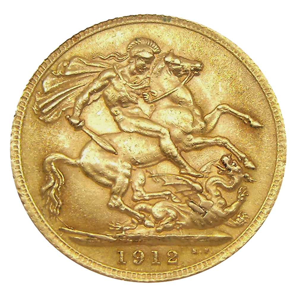 Pre-Owned 1912 London Mint George V Full Sovereign Gold Coin (Image 2)