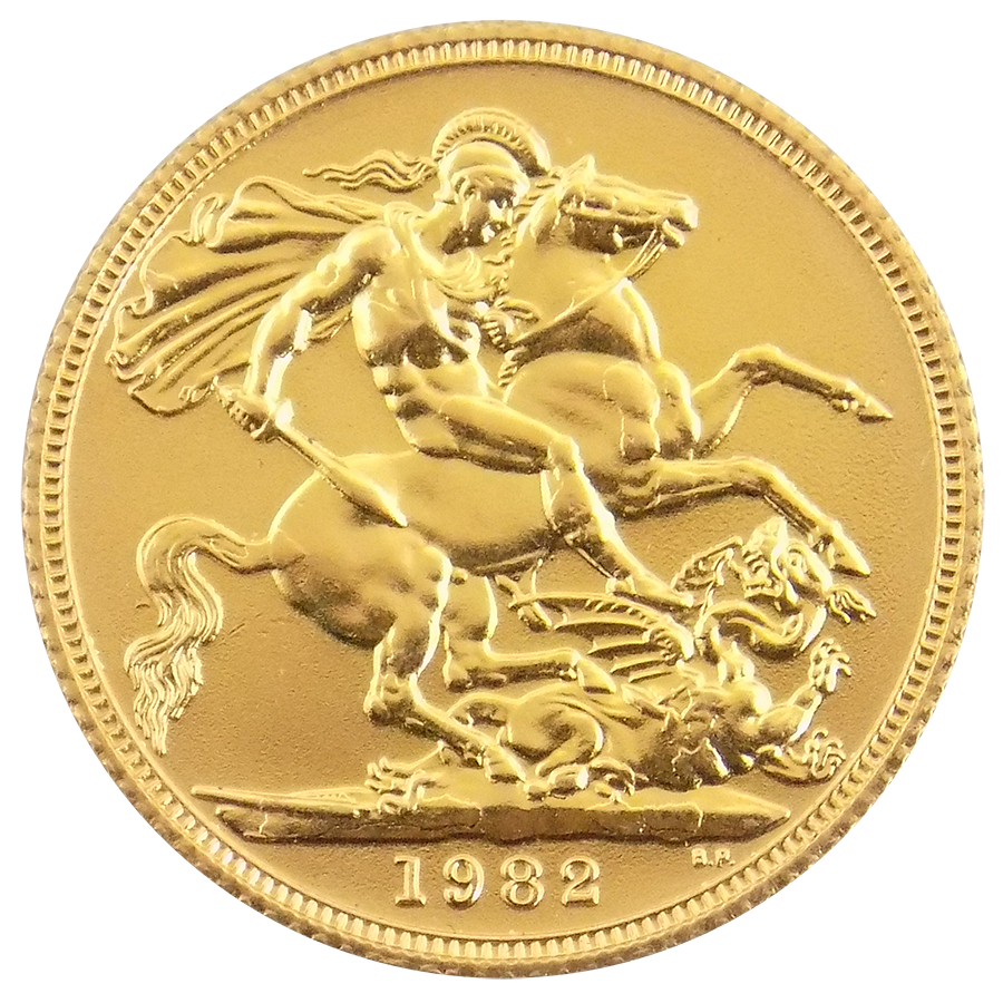 Pre-Owned 1982 UK Elizabeth II Full Sovereign Gold Coin (Image 2)