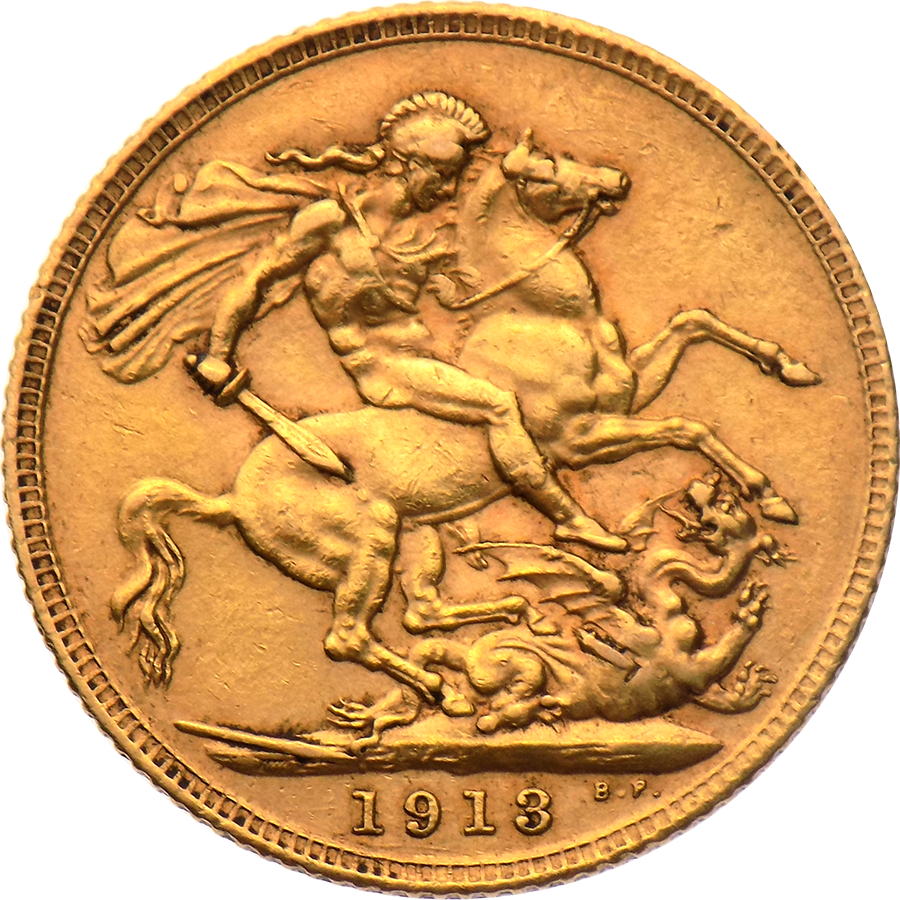 Pre-Owned 1913 UK George V Full Sovereign Gold Coin (Image 2)