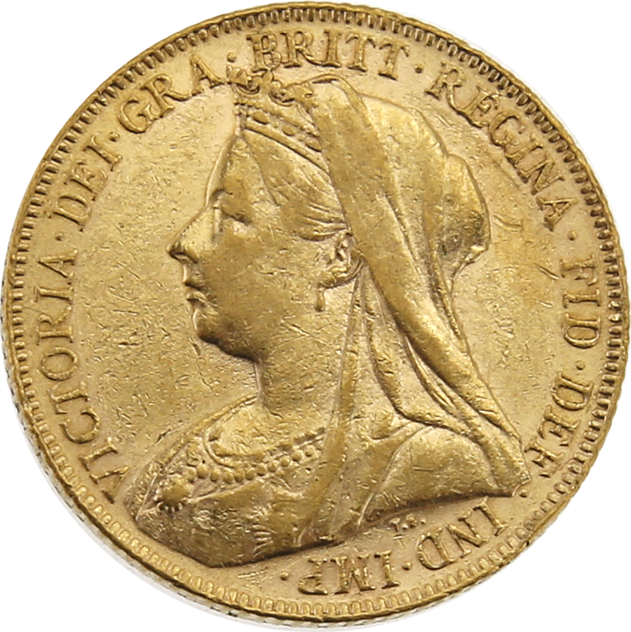 Pre-Owned 1899 UK Victorian Veiled Full Sovereign Gold Coin