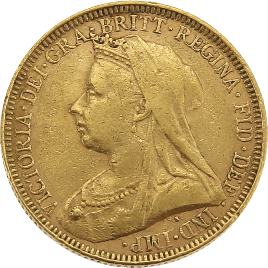 Pre-Owned 1893 UK Victoria Veiled Head Full Sovereign Gold Coin